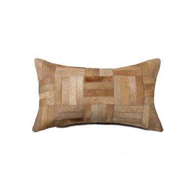 Graham Parquet Leather Throw Pillow Color: Beige