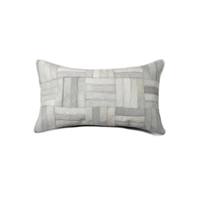 Graham Parquet Leather Lumbar Pillow Color: Gray
