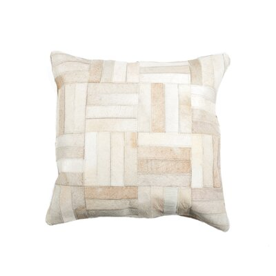 Graham Parquet Leather Lumbar Pillow Color: Beige