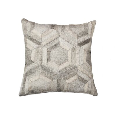 Graham Modern Hand Woven Cowhide Throw Pillow Color: Gray