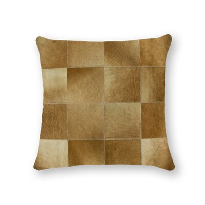Burrell Square Patchwork Cowhide Throw Pillow Color: Tan