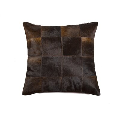Burrell Square Patchwork Cowhide Throw Pillow Color: Chocolate