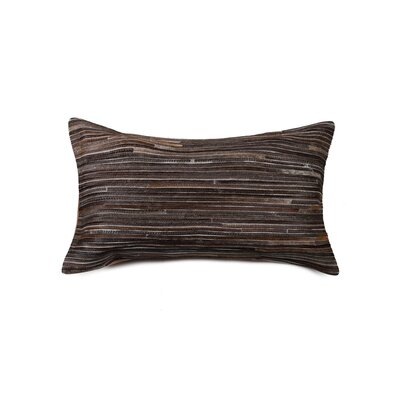 Graham Hand-Woven Cowhide Lumbar Pillow Color: Chocolate