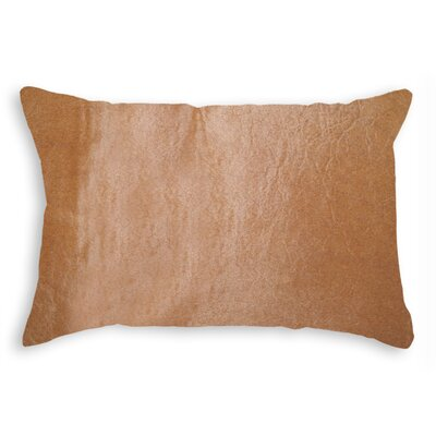 Graham Modern Hand Woven Cowhide Lumbar Pillow Color: Tan