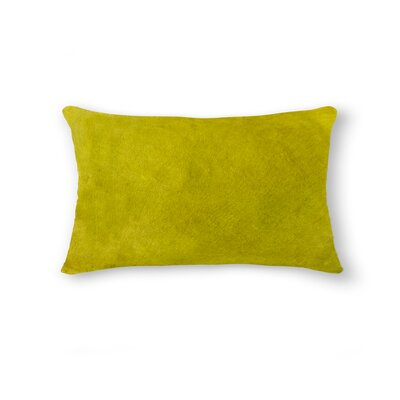 Graham Zipper Closure 100% Cowhide Lumbar Pillow Color: Yellow