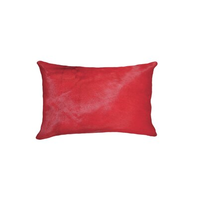Graham Zipper Closure 100% Cowhide Lumbar Pillow Color: Firecraker