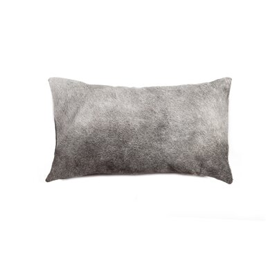 Graham Zipper Leather Lumbar Pillow Color: Gray