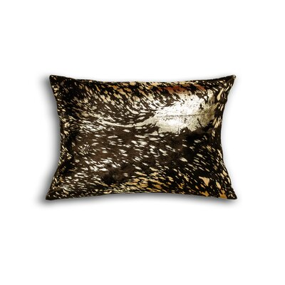Graham Cowhide Lumbar Pillow Color: Chocolate/Gold
