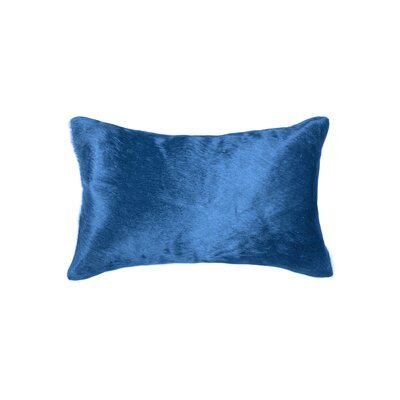 Plumsted Leather Cowhide Lumbar Pillow Color: Sky Blue
