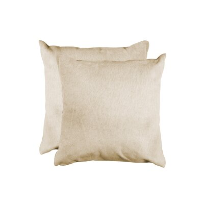 Graham Modern Square Hand Woven Cowhide Throw Pillow Color: Natural
