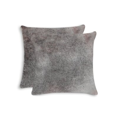Graham Modern Square Hand Woven Cowhide Throw Pillow Color: Gray