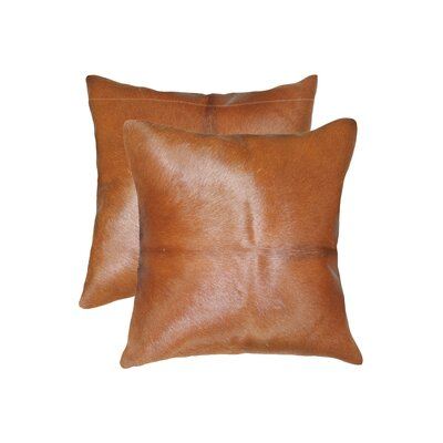 Graham Modern Square Hand Woven Cowhide Throw Pillow Color: Brown