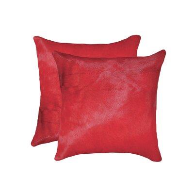 Graham Modern Square Hand Woven Cowhide Throw Pillow Color: Firecracker