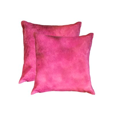Graham Modern Square Hand Woven Cowhide Throw Pillow Color: Fuschia