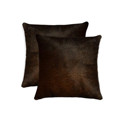 Graham Modern Square Hand Woven Cowhide Throw Pillow Color: Chocolate
