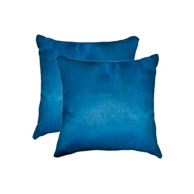 Graham Modern Square Hand Woven Cowhide Throw Pillow Color: Royal Blue