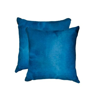 Graham Modern Square Hand Woven Cowhide Throw Pillow Color: Sky Blue