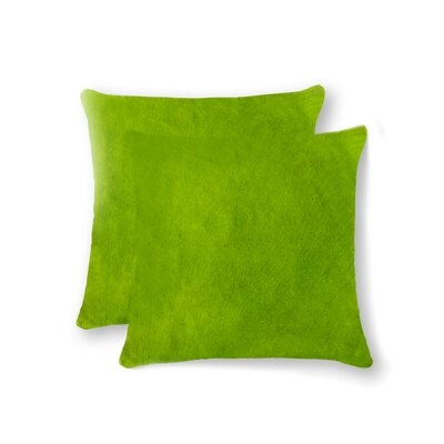 Graham Modern Square Hand Woven Cowhide Throw Pillow Color: Lime