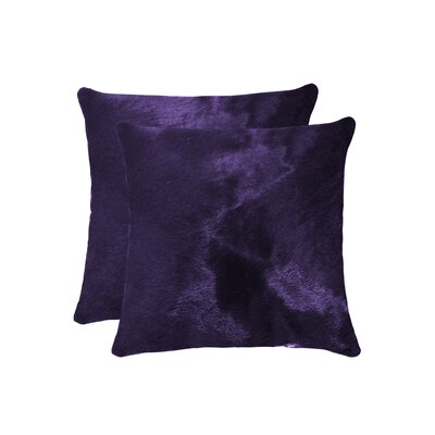 Graham Modern Square Hand Woven Cowhide Throw Pillow Color: Purple