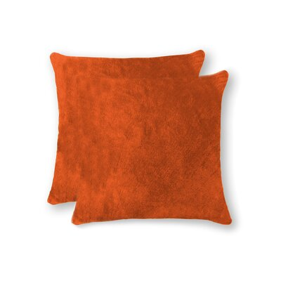Graham Modern Square Hand Woven Cowhide Throw Pillow Color: Orange