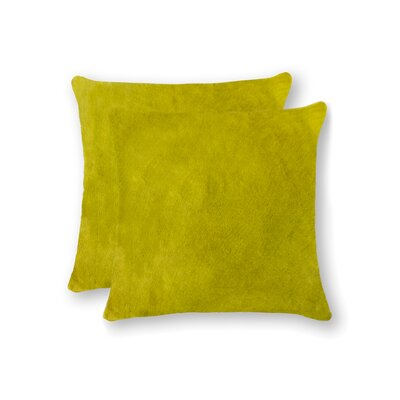 Graham Modern Square Hand Woven Cowhide Throw Pillow Color: Yellow
