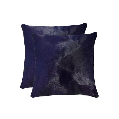 Graham Modern Square Hand Woven Cowhide Throw Pillow Color: Navy