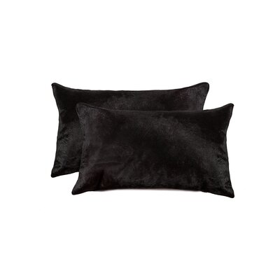 Graham Leather Lumbar Pillow Color: Black