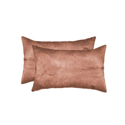 Graham Rectangular Cowhide Lumbar Pillow (Set of 2) Color: Brown