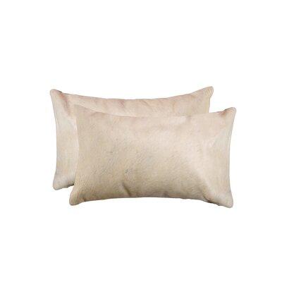 Graham Rectangular Cowhide Lumbar Pillow Color: Tan