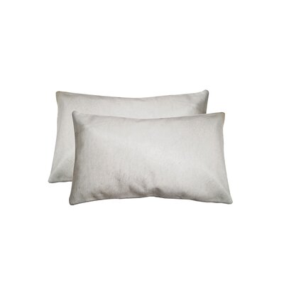 Graham Rectangular Cowhide Lumbar Pillow (Set of 2) Color: White