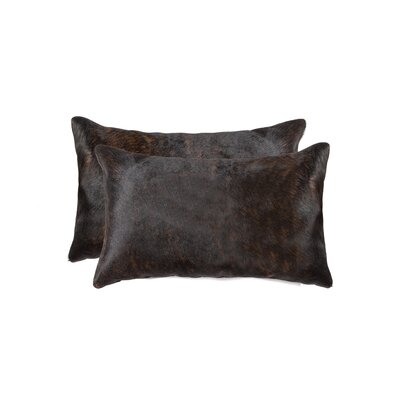Graham Rectangular Cowhide Lumbar Pillow (Set of 2) Color: Chocolate