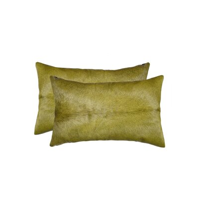 Graham Rectangular Cowhide Lumbar Pillow (Set of 2) Color: Lime