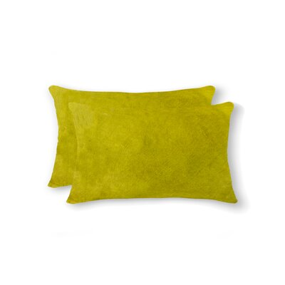 Graham Rectangular Cowhide Lumbar Pillow Color: Yellow