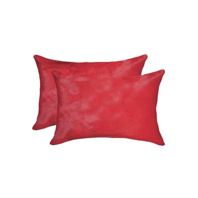 Graham Rectangular Cowhide Lumbar Pillow (Set of 2) Color: Firecracker