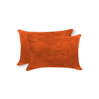 Graham Rectangular Cowhide Lumbar Pillow (Set of 2) Color: Orange