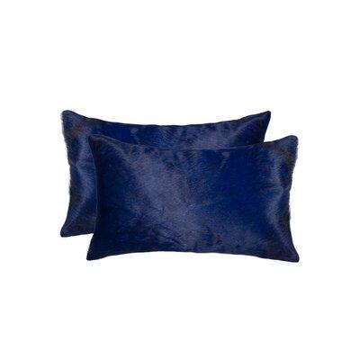 Graham Rectangular Cowhide Lumbar Pillow (Set of 2) Color: Navy