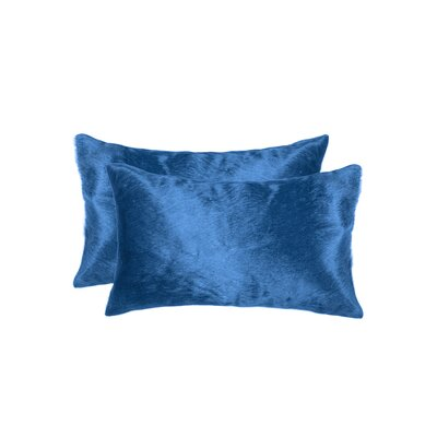 Graham Leather Lumbar Pillow Color: Sky Blue