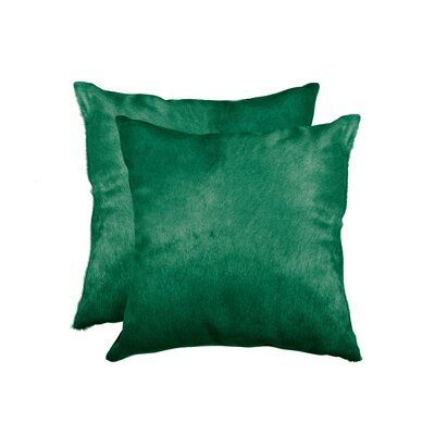 Graham Modern Square Hand Woven Cowhide Throw Pillow Color: Verde