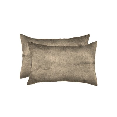 Graham Rectangular Cowhide Lumbar Pillow (Set of 2) Color: Taupe
