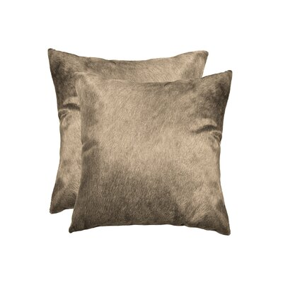 Graham Modern Square Hand Woven Cowhide Throw Pillow Color: Taupe