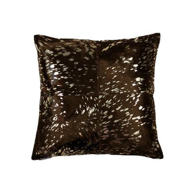 Graham Square Leather Throw Pillow Color: Gold/Chocolate