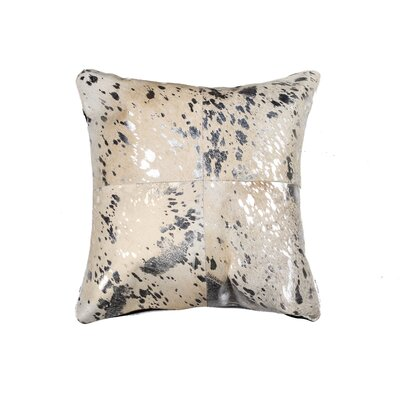 Graham Square Leather Throw Pillow Color: Silver/Gray