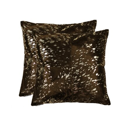 Harrell Leather Throw Pillow Color: Gold/Chocolate