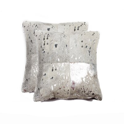 Harrell Leather Throw Pillow Color: Silver/Gray