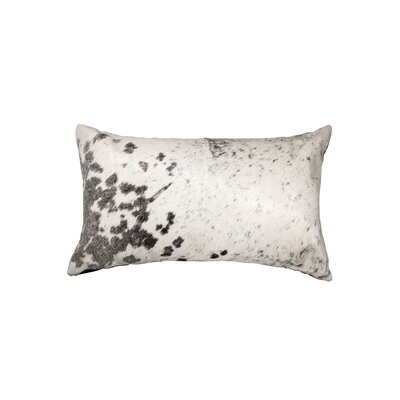 Graham Rectangle Leather Lumbar Pillow Color: Gray/White