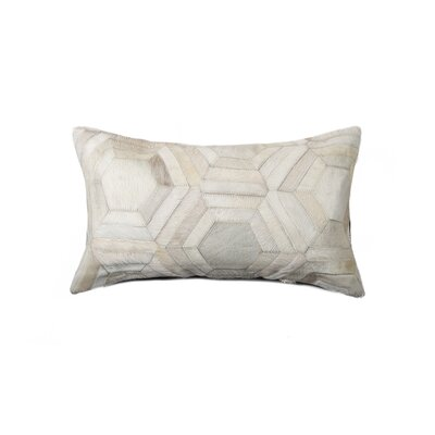 Graham Hexagon Leather Lumbar Pillow Color: Off White