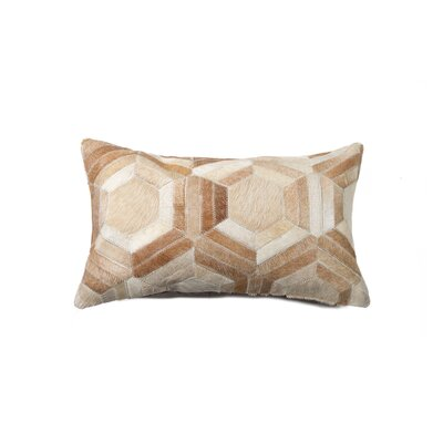 Graham Hexagon Leather Lumbar Pillow Color: Natural