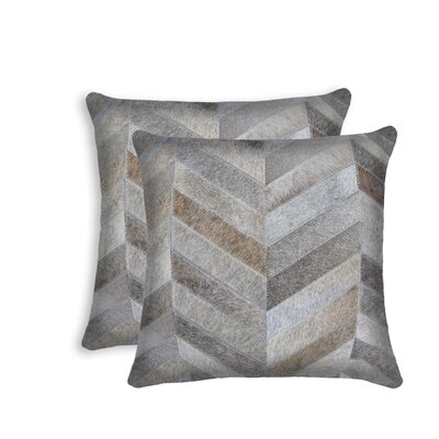 Graham Leather Throw Pillow Color: Gray