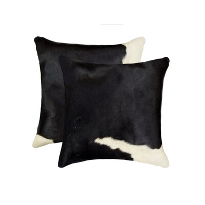 Graham Leather Throw Pillow Color: Black/White