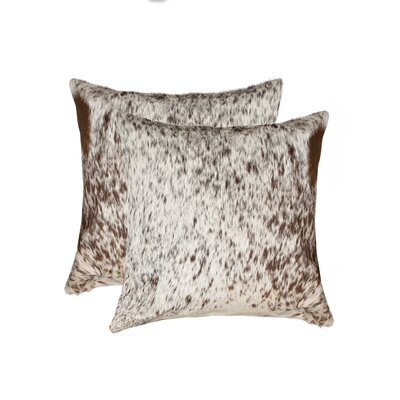 Graham Leather Throw Pillow Color: Chocolate/White